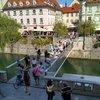 Любляна, центрю Вид на стеклянный мост